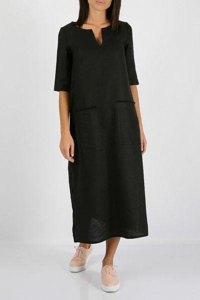 Льняное платье с разрезами по бокам MRND_М26-3, фото 4 - в интеренет магазине KAPSULA
