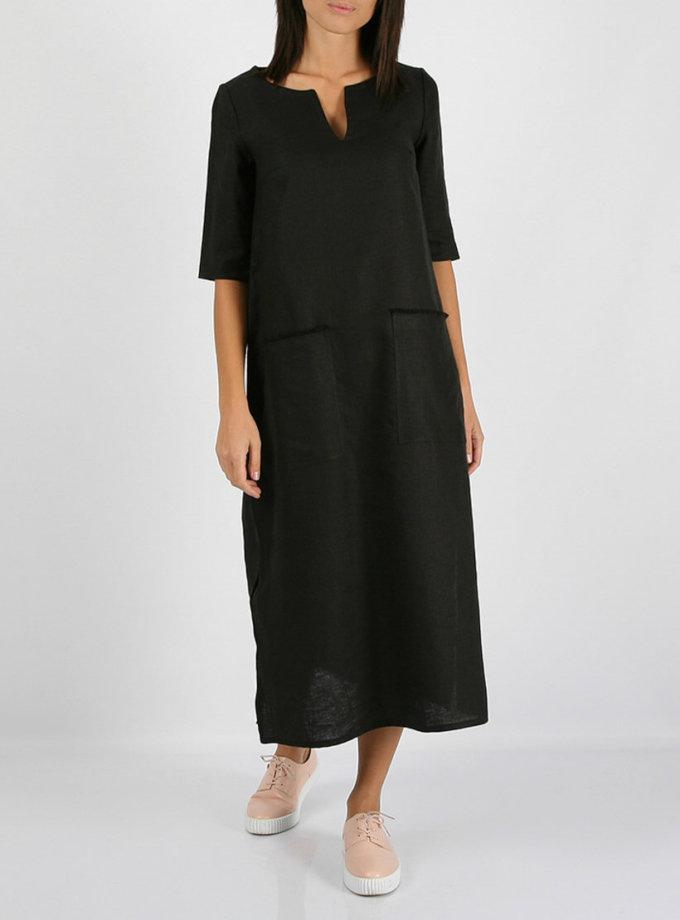 Льняное платье с разрезами по бокам MRND_М26-3, фото 1 - в интернет магазине KAPSULA