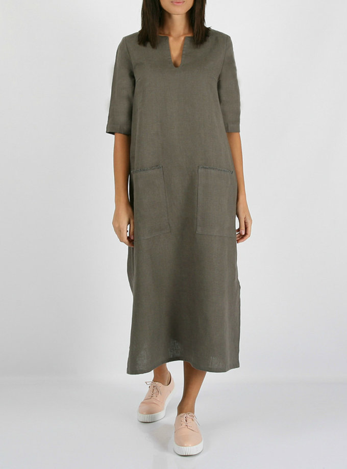 Льняное платье с разрезами по бокам MRND_М26-4, фото 1 - в интернет магазине KAPSULA
