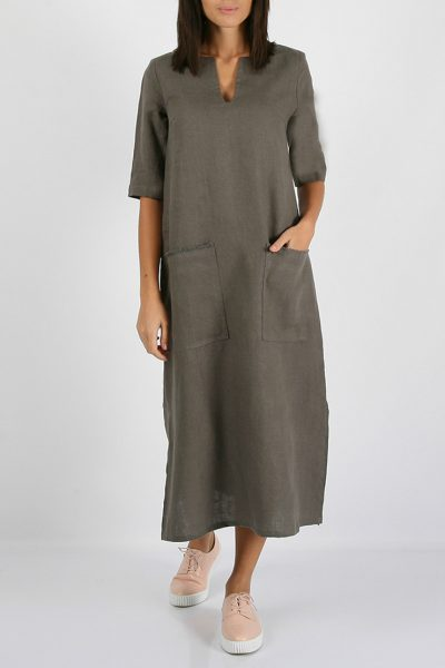 Льняное платье с разрезами по бокам MRND_М26-4, фото 1 - в интеренет магазине KAPSULA