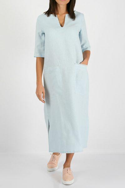 Льняное платье с разрезами по бокам MRND_М26-5, фото 4 - в интеренет магазине KAPSULA