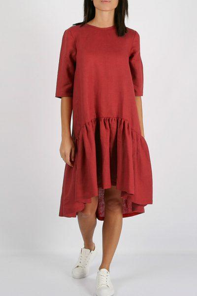 Льняное платье с воланом MRND_М5-1, фото 1 - в интеренет магазине KAPSULA