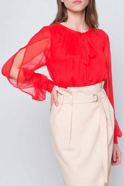 Блуза с пышными рукавами CYAN_TP_J03, фото 10 - в интеренет магазине KAPSULA