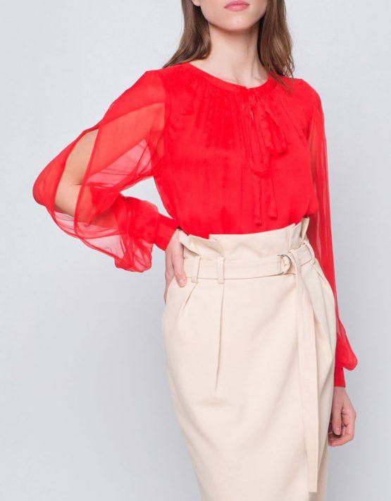 Блуза с пышными рукавами CYAN_TP_J03, фото 1 - в интеренет магазине KAPSULA