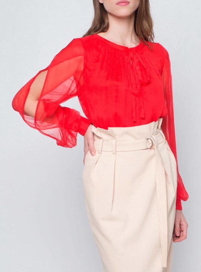 Блуза с пышными рукавами CYAN_TP_J03, фото 1 - в интернет магазине KAPSULA