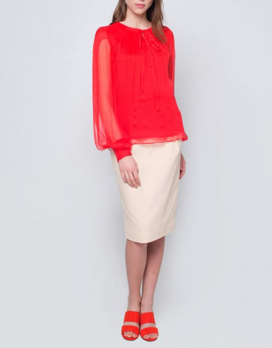 Блуза с пышными рукавами CYAN_TP_J03, фото 3 - в интеренет магазине KAPSULA