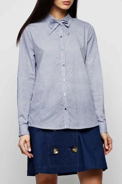Хлопковая рубашка со стойкой AY_2303, фото 4 - в интеренет магазине KAPSULA