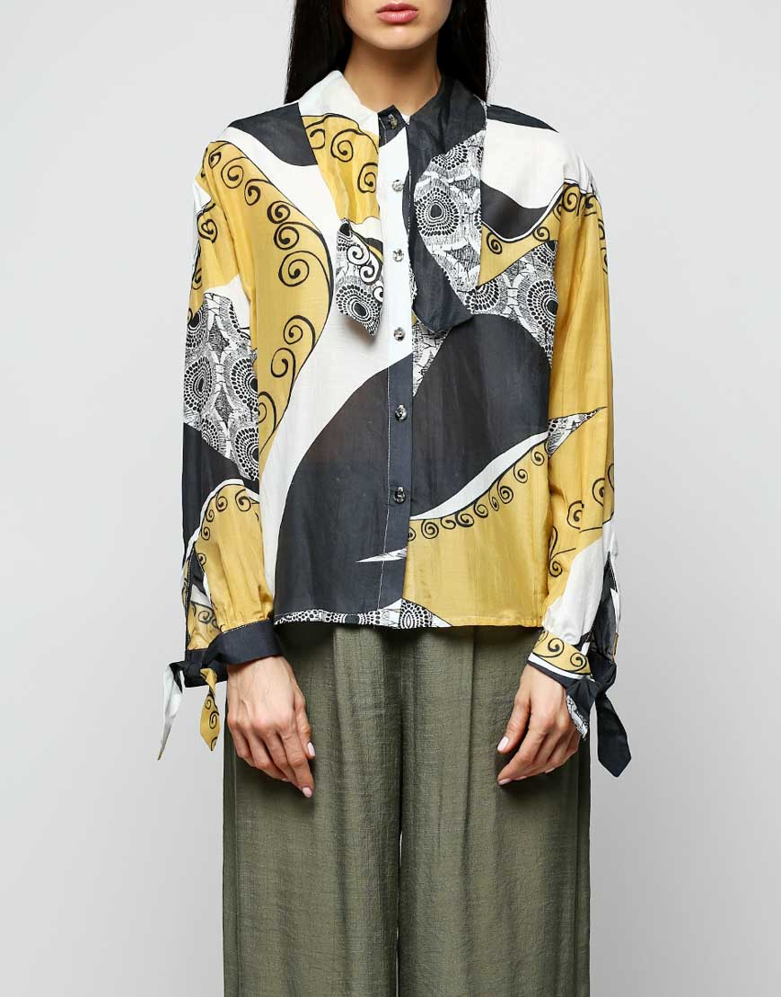 Блуза из хлопка принт