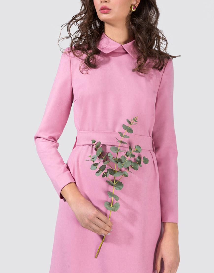 Платье-миди с вышивкой на спине и воротом