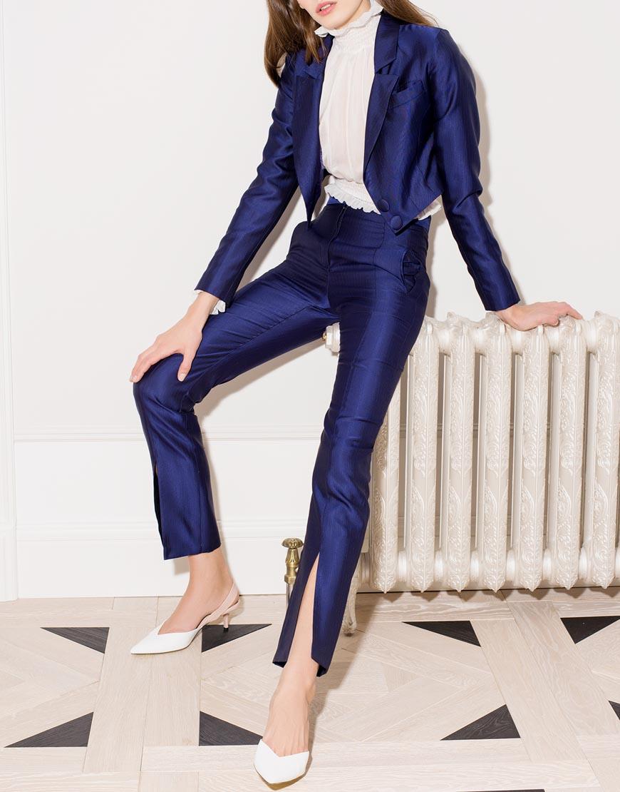 Шерсятные брюки с разрезами  - купить со скидкой
