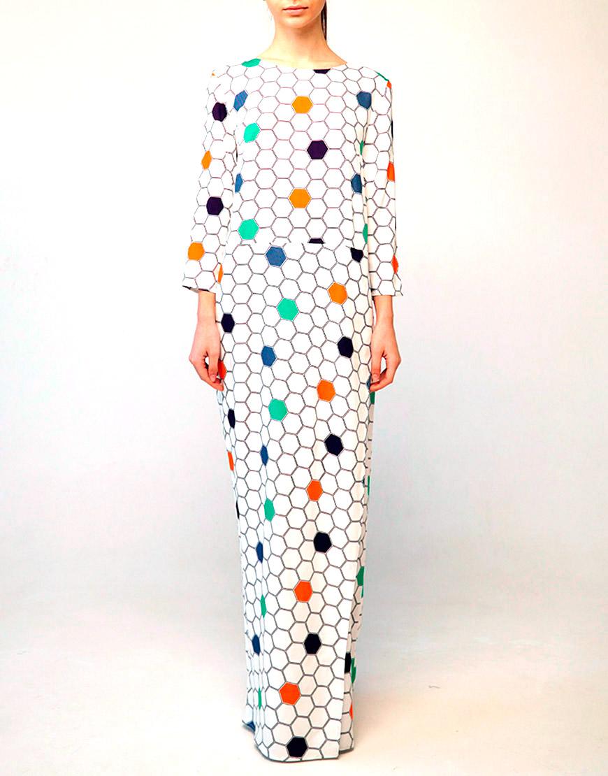 Платье макси с авторским принтом из штапеля