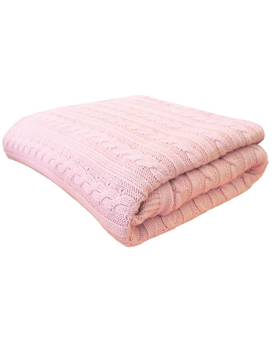 Вязаный плед Коси Розовая пудра 90х130 см