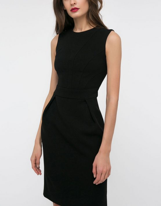 Черное платье футляр на подкладе SHKO_18007001, фото 4 - в интеренет магазине KAPSULA