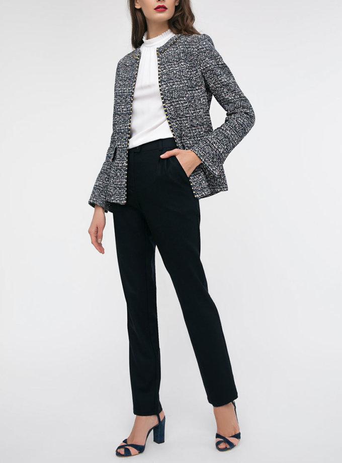Тёмно-синие брюки с защипами на поясе SHKO_17045002, фото 1 - в интеренет магазине KAPSULA