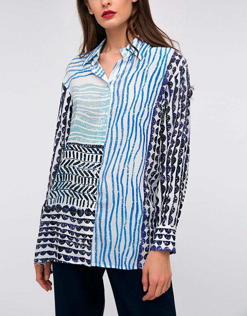 Рубашка в принт с ассиметричным низом