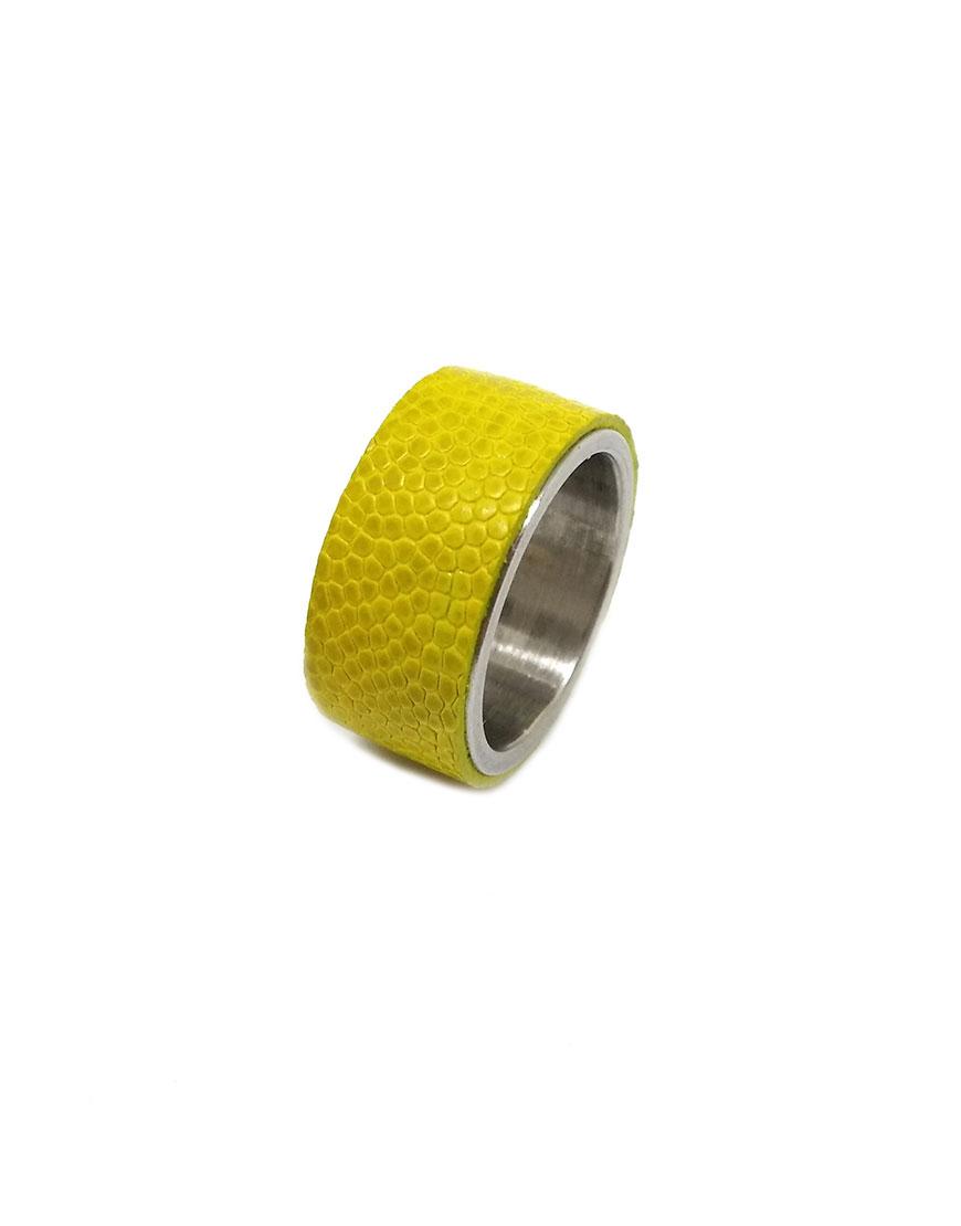 Стальное кольцо STEEL с кожей страуса