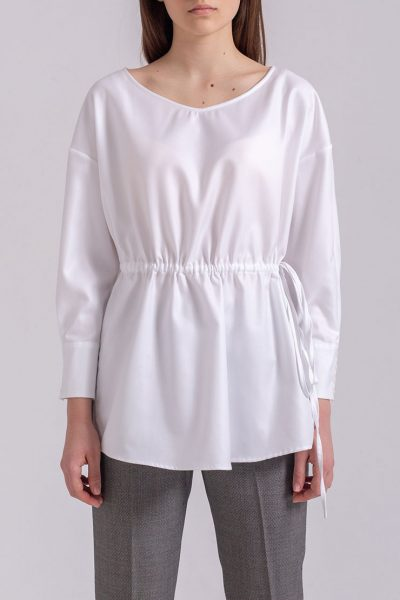 Блуза свободного кроя на кулиске PPMT_PM-38_white, фото 1 - в интеренет магазине KAPSULA