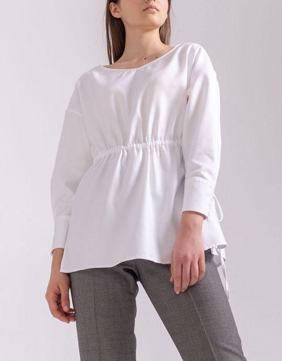 Блуза свободного кроя на кулиске PPMT_PM-38_white, фото 14 - в интеренет магазине KAPSULA