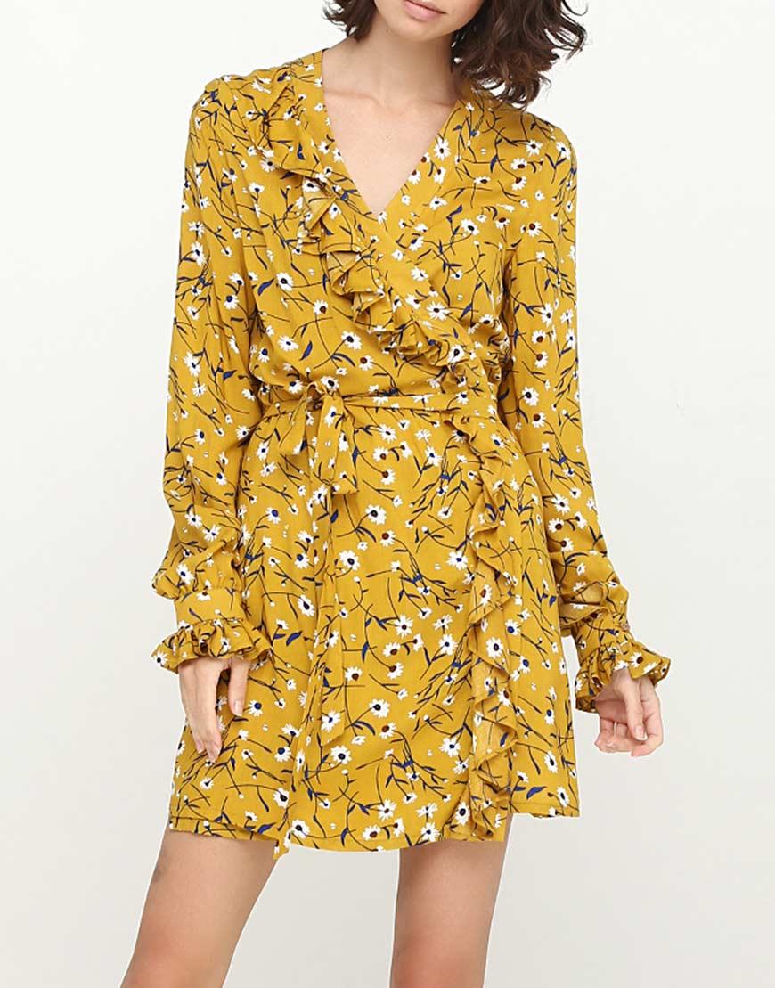 Купить Платье в принт с воланами