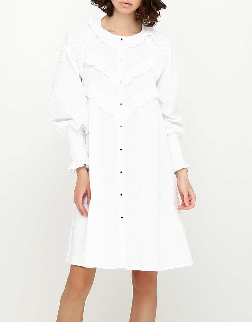 Платье с объемными рукавами на манжетах