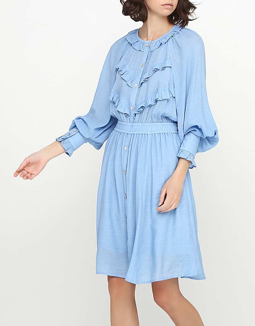 Купить Платье с воланами на талии
