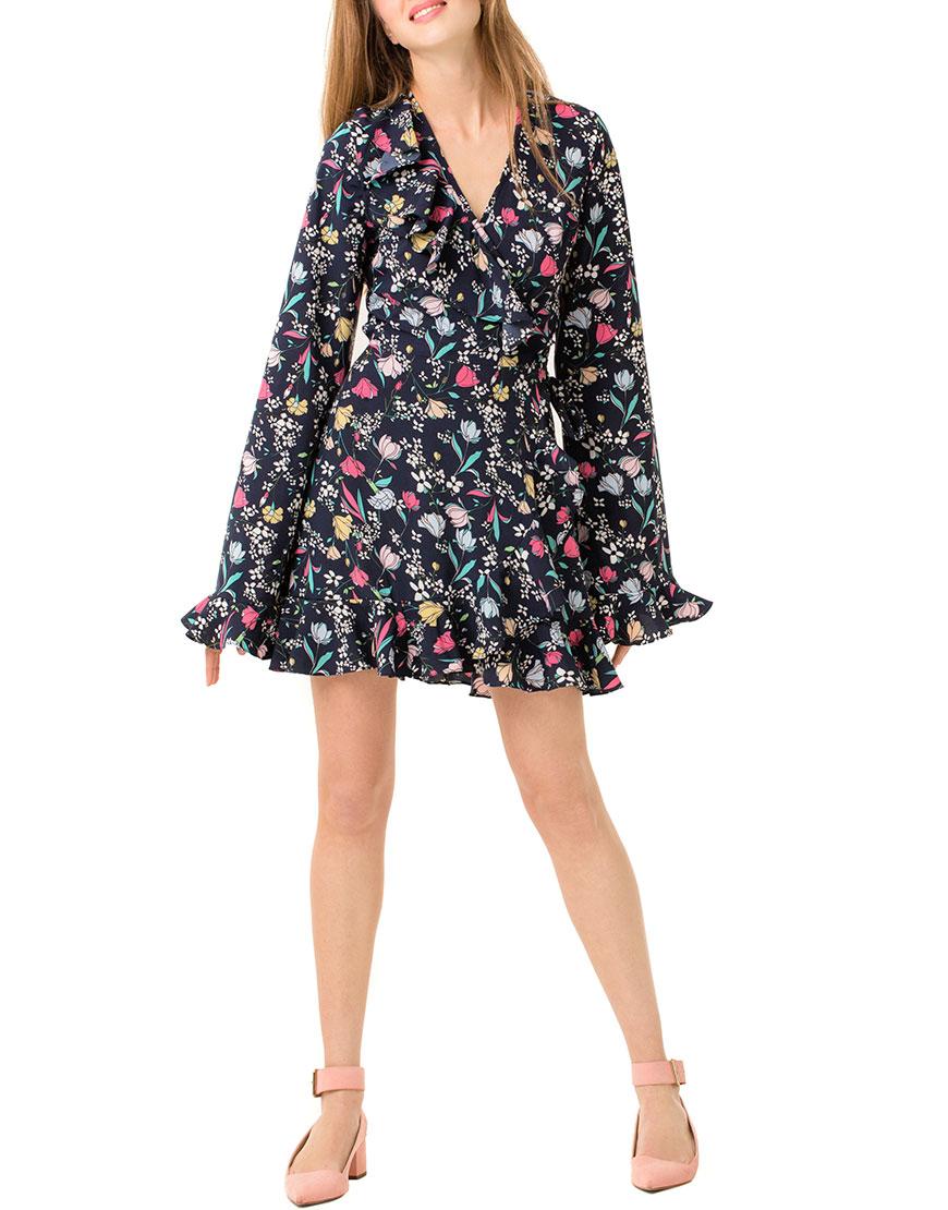 Платье мини с запахом принт