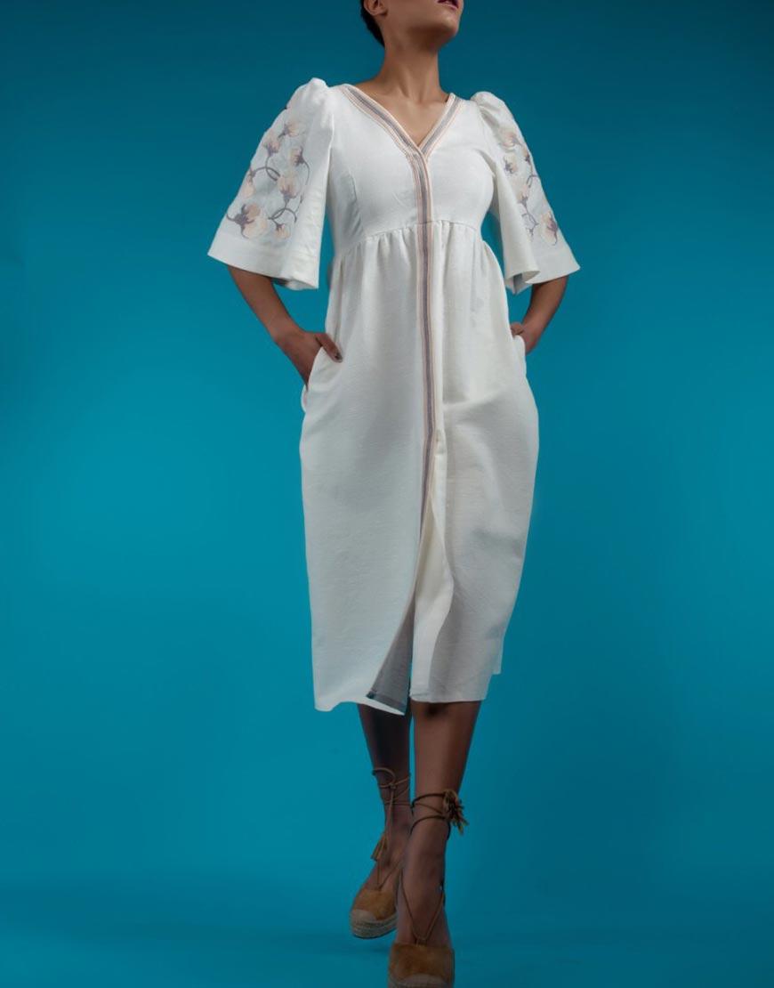 Купить Платье из льна с легким золотистым напылением