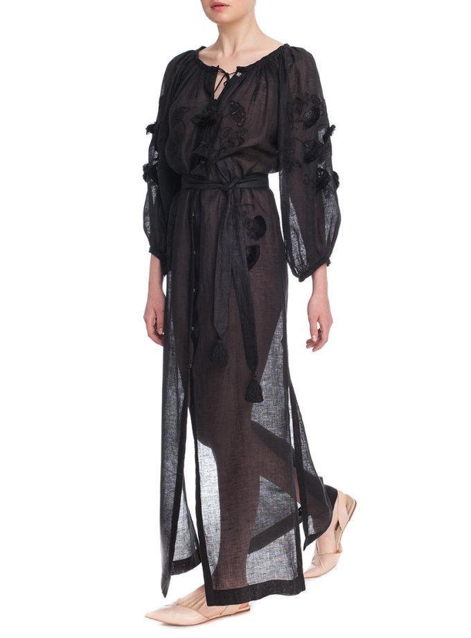 Туника вышиванка Черный брилиант FOBERI_01169, фото 1 - в интернет магазине KAPSULA