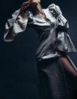 Платье из льна с эффектом фактурности ZHPN_Victorian_SS18_001-Black, фото 3 - в интеренет магазине KAPSULA