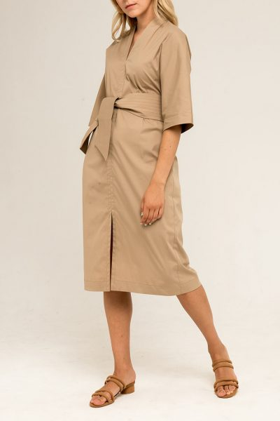 Платье прямого силуэта с поясом PPMT_PM-39_beige, фото 1 - в интеренет магазине KAPSULA
