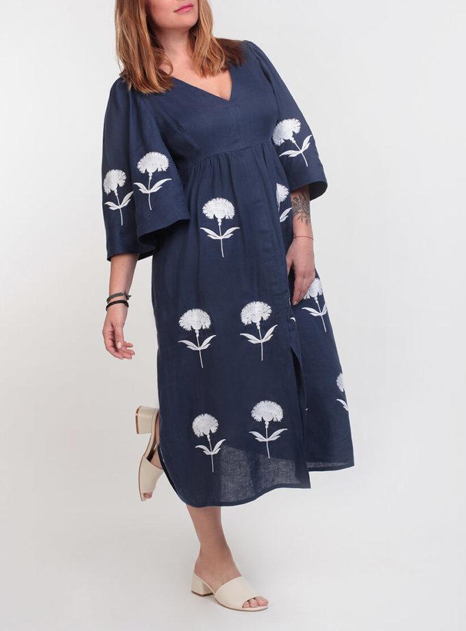 Платье А-силуэта с вышивкой ZHPN_Cuba_Blue_SS18_1_long, фото 1 - в интеренет магазине KAPSULA
