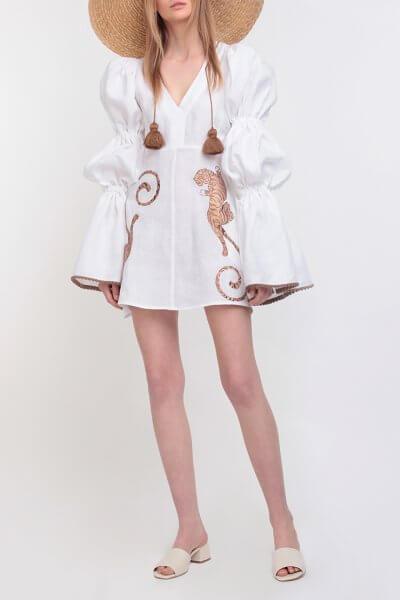 Платье из льна с вышивкой ZHPN_FW-dress-tiger-white, фото 5 - в интеренет магазине KAPSULA