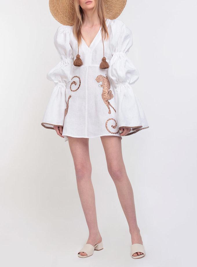 Платье из льна с вышивкой ZHPN_FW-dress-tiger-white, фото 1 - в интеренет магазине KAPSULA