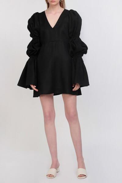 Платье из льна с эффектом фактурности ZHPN_Victorian_SS18_001-Black, фото 1 - в интеренет магазине KAPSULA