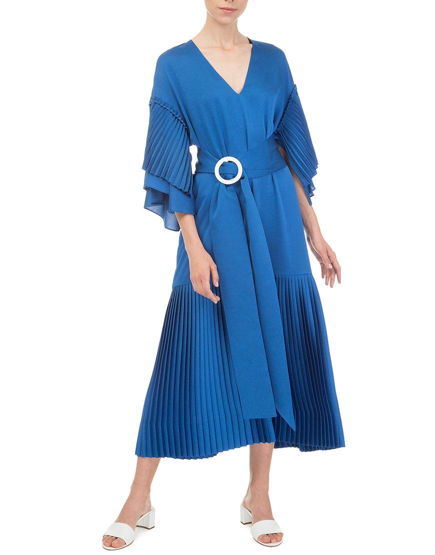 Платье плиссе электрик