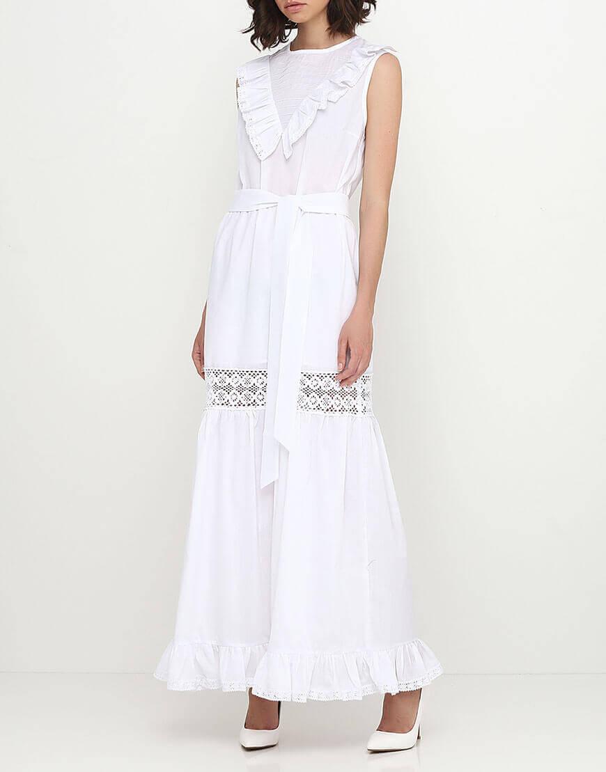 Платье с кружевом со сборками