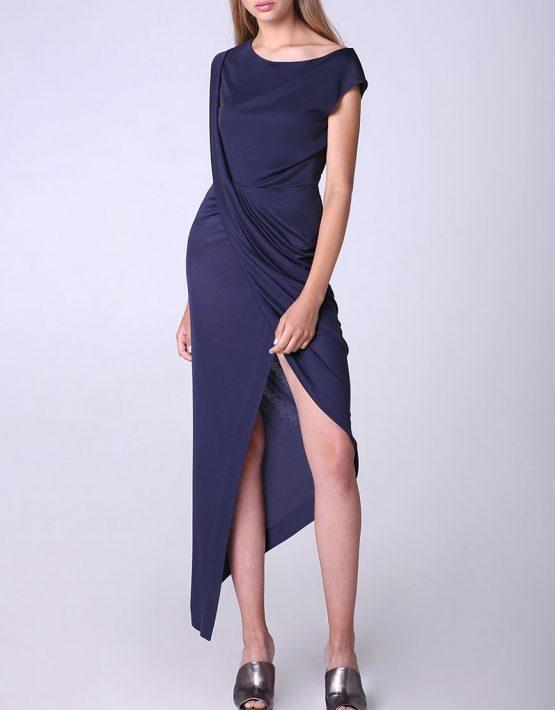 Платье с драпировкой и асимметрией BEAVR_BA_SS18_42, фото 2 - в интеренет магазине KAPSULA