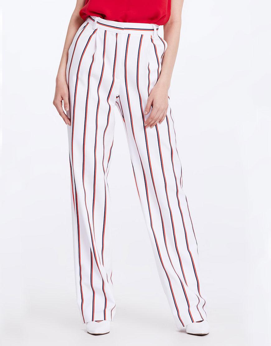 Купить Широкие брюки в сине-красную полоску