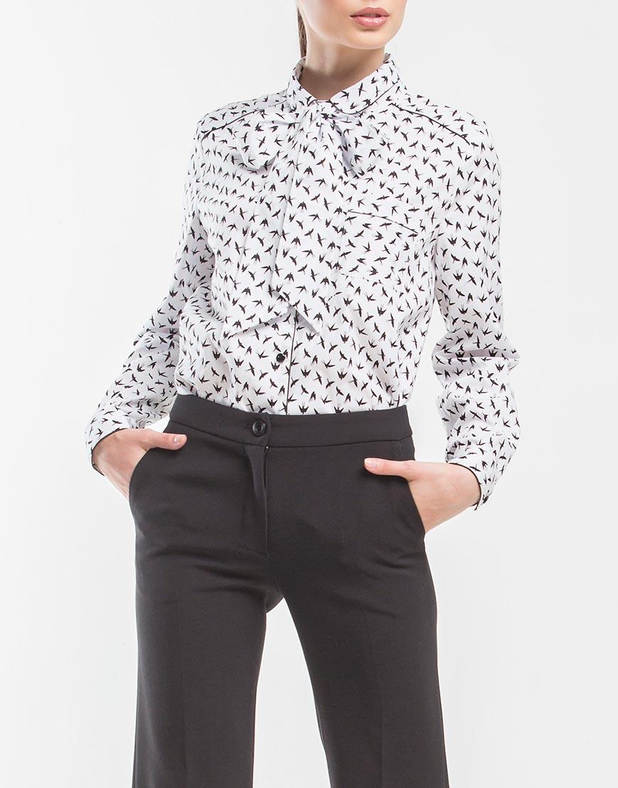 Купить Рубашка из хлопка с черно-белым принтом