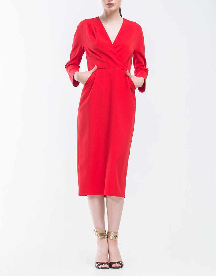 Платье с V-образным вырезом и карманами