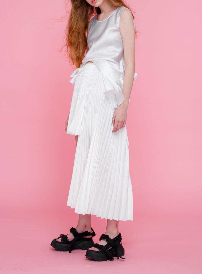 Блуза из шелка с рюшами сбоку MZRB_SS18BLOUSESILKWHITE, фото 1 - в интеренет магазине KAPSULA