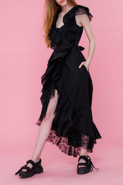 Платье с кружевом из хлопка MZRB_SS18DRESSBLACKLACE, фото 1 - в интеренет магазине KAPSULA