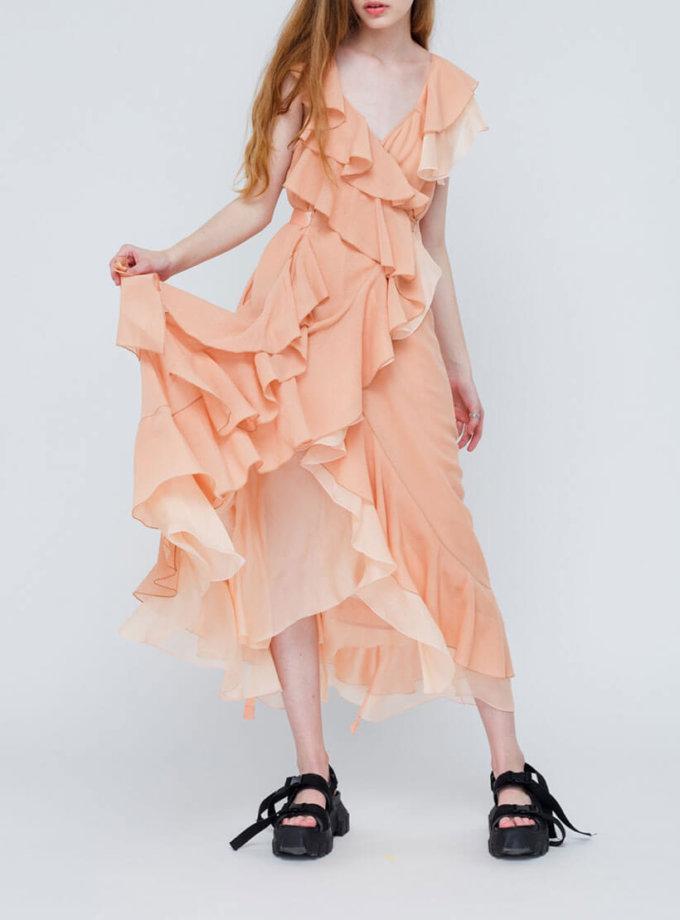 Платье из шелка с многослойными рюшами MZRB_SS18DRESSILKPEACH, фото 1 - в интеренет магазине KAPSULA