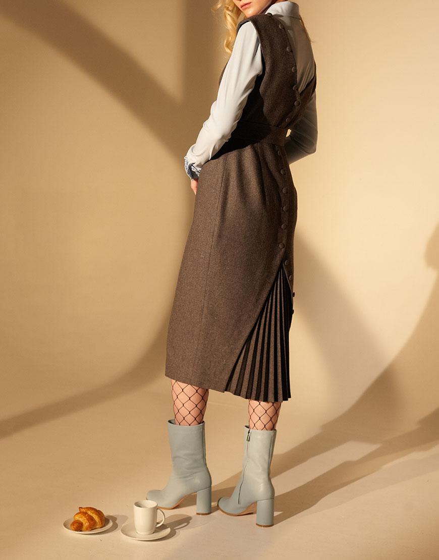 Платье из шерсти со вставкой плиссе