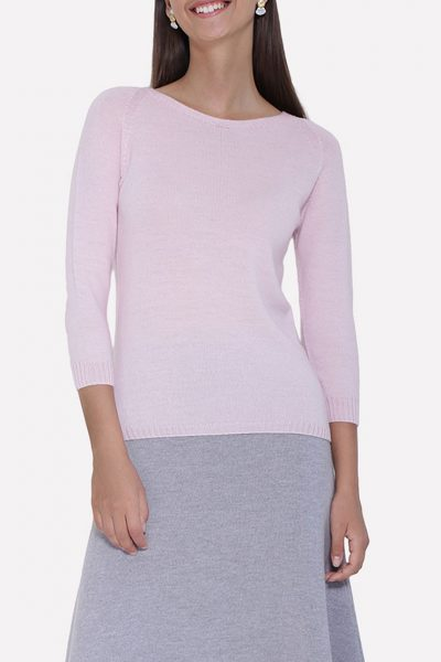 Бесшовный вязаный тонкий джемпер JND_14-010301_pink, фото 3 - в интеренет магазине KAPSULA
