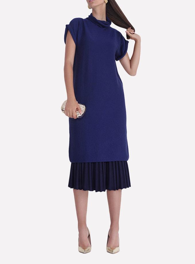 Бесшовное вязаное платье свободного силуэта JND_14-010602_blue, фото 1 - в интеренет магазине KAPSULA