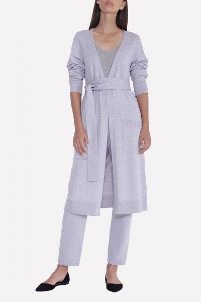 Вязаный прямой кардиган с поясом и карманами JND_18-011206_gray, фото 1 - в интеренет магазине KAPSULA