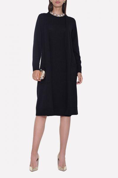 Вязаный прямой кардиган с поясом и карманами JND_18-011206_black, фото 1 - в интеренет магазине KAPSULA