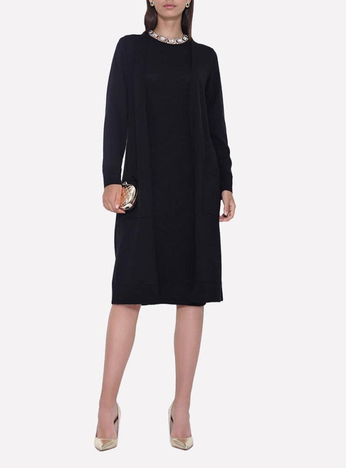 Вязаный прямой кардиган с поясом и карманами JND_18-011206_black, фото 1 - в интернет магазине KAPSULA