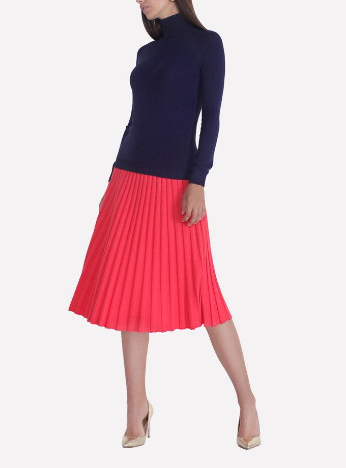 Вязаная плиссированная юбка JND_18-140505_red, фото 1 - в интеренет магазине KAPSULA